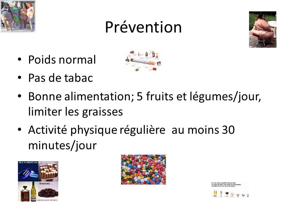 Prévention Poids normal Pas de tabac Bonne alimentation; 5 fruits et légumes/jour, limiter les graisses Activité physique régulière au moins 30 minute