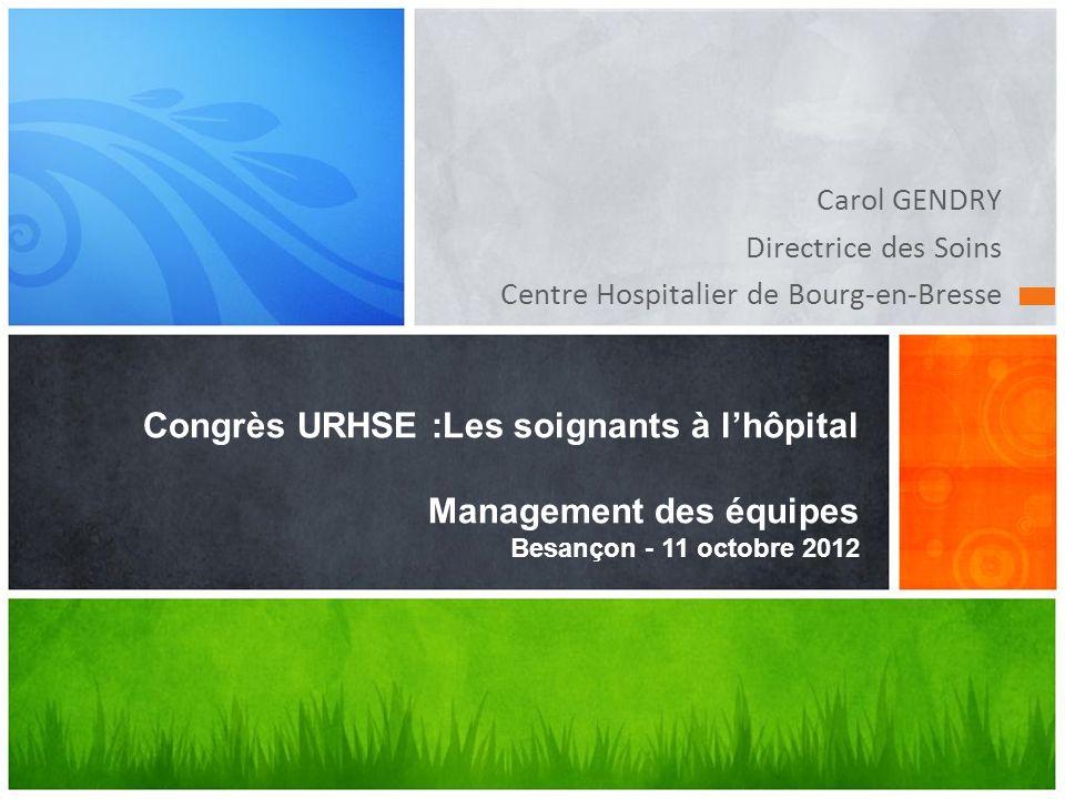 Carol GENDRY Directrice des Soins Centre Hospitalier de Bourg-en-Bresse Congrès URHSE :Les soignants à lhôpital Management des équipes Besançon - 11 o