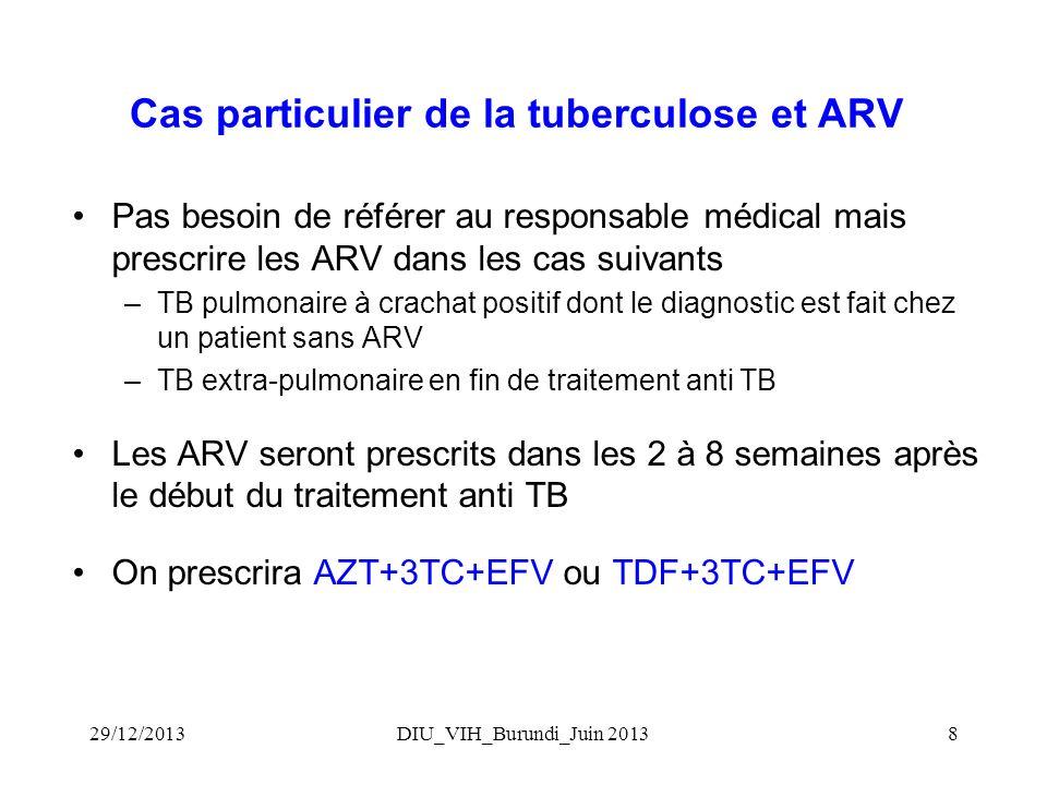 DIU_VIH_Burundi_Juin 20138 Cas particulier de la tuberculose et ARV Pas besoin de référer au responsable médical mais prescrire les ARV dans les cas suivants –TB pulmonaire à crachat positif dont le diagnostic est fait chez un patient sans ARV –TB extra-pulmonaire en fin de traitement anti TB Les ARV seront prescrits dans les 2 à 8 semaines après le début du traitement anti TB On prescrira AZT+3TC+EFV ou TDF+3TC+EFV 29/12/2013