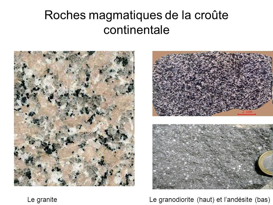 Roches magmatiques de la croûte continentale Le graniteLe granodiorite (haut) et landésite (bas)