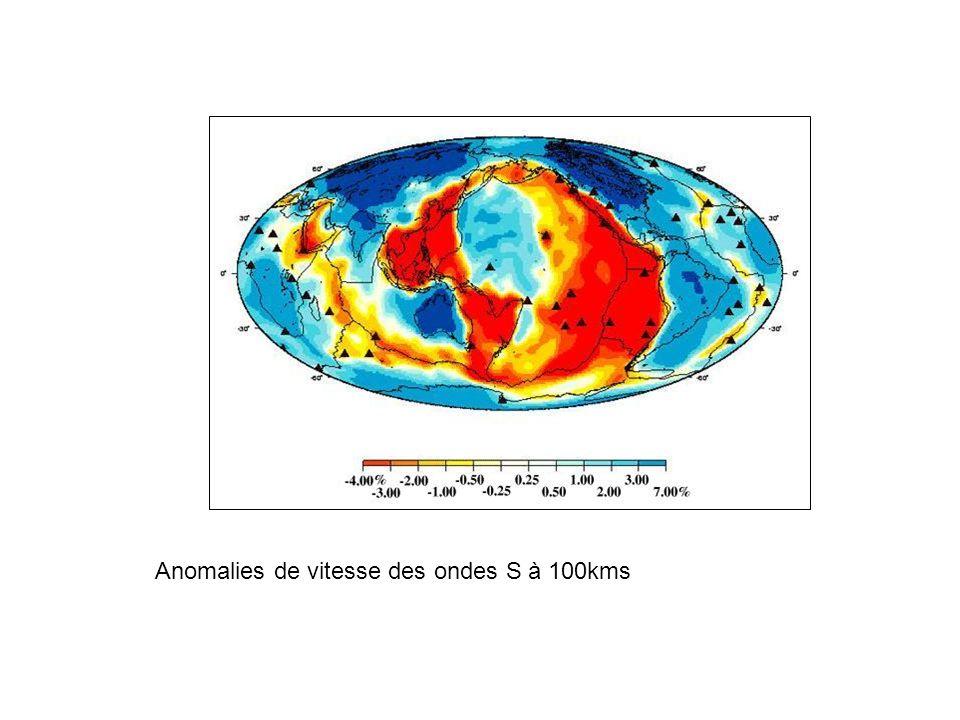 Anomalies de vitesse des ondes S à 100kms