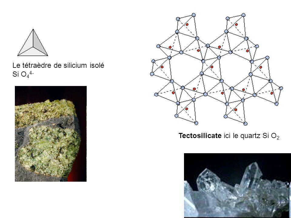 Tectosilicate ici le quartz Si O 2 Le tétraèdre de silicium isolé Si O 4 4-