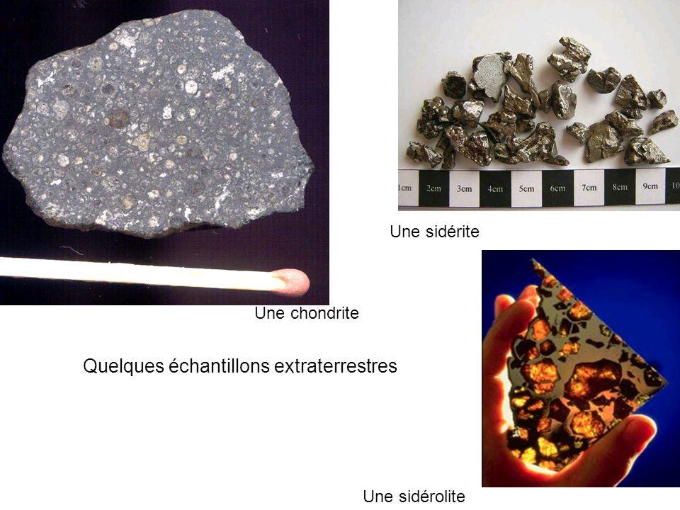 Quelques échantillons extraterrestres Une chondrite Une sidérite Une sidérolite