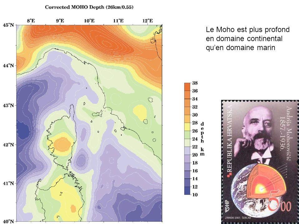 Le Moho est plus profond en domaine continental quen domaine marin