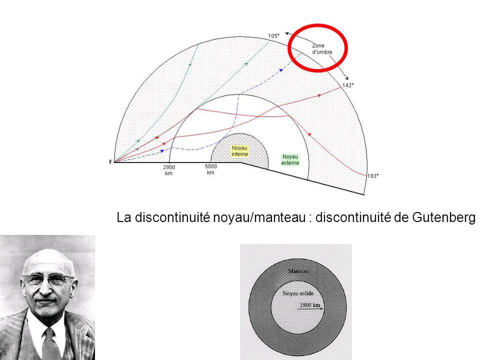 La discontinuité noyau/manteau : discontinuité de Gutenberg