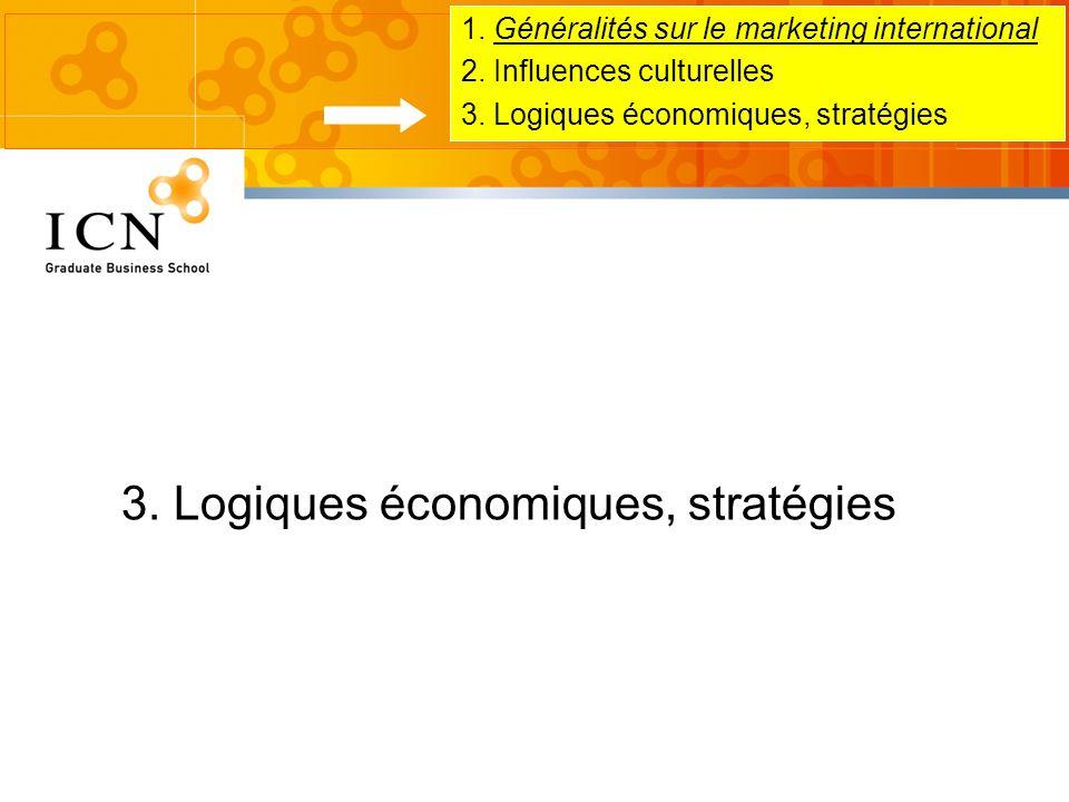 1. Généralités sur le marketing international 2. Influences culturelles 3. Logiques économiques, stratégies