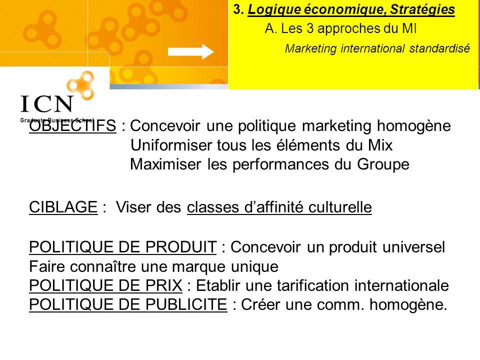 3. Logique économique, Stratégies A. Les 3 approches du MI Marketing international standardisé OBJECTIFS : Concevoir une politique marketing homogène