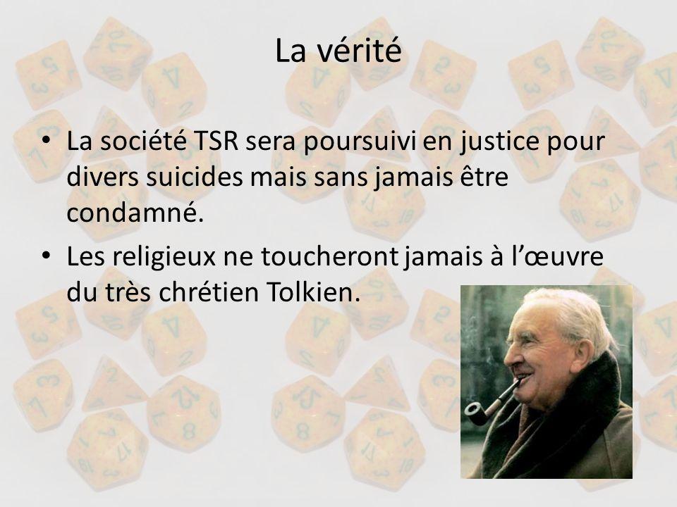 La vérité La société TSR sera poursuivi en justice pour divers suicides mais sans jamais être condamné. Les religieux ne toucheront jamais à lœuvre du