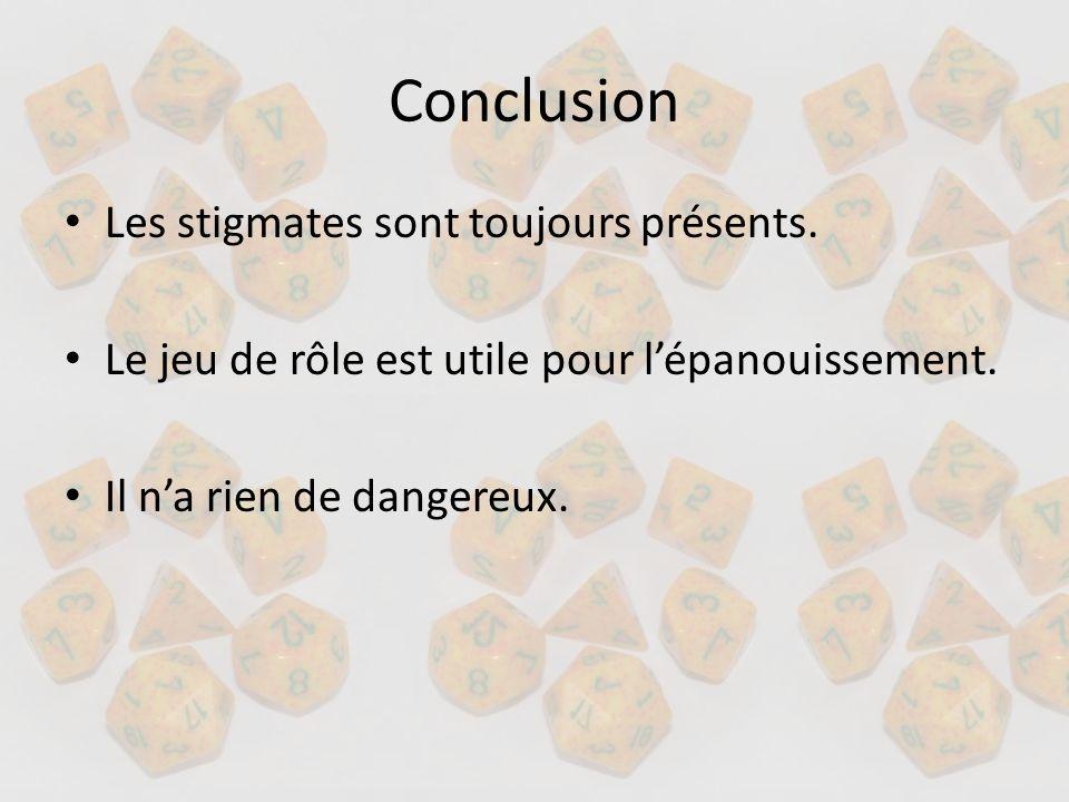 Conclusion Les stigmates sont toujours présents. Le jeu de rôle est utile pour lépanouissement. Il na rien de dangereux.