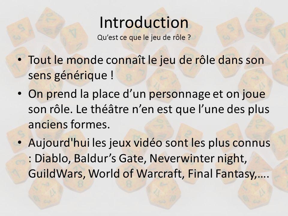 Introduction Quest ce que le jeu de rôle ? Tout le monde connaît le jeu de rôle dans son sens générique ! On prend la place dun personnage et on joue