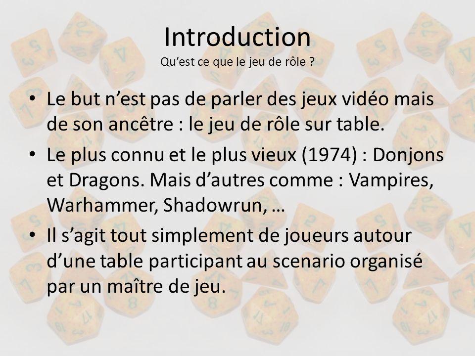 Introduction Quest ce que le jeu de rôle ? Le but nest pas de parler des jeux vidéo mais de son ancêtre : le jeu de rôle sur table. Le plus connu et l