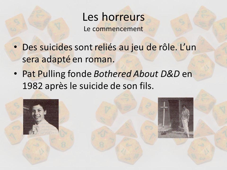 Les horreurs Le commencement Des suicides sont reliés au jeu de rôle. Lun sera adapté en roman. Pat Pulling fonde Bothered About D&D en 1982 après le