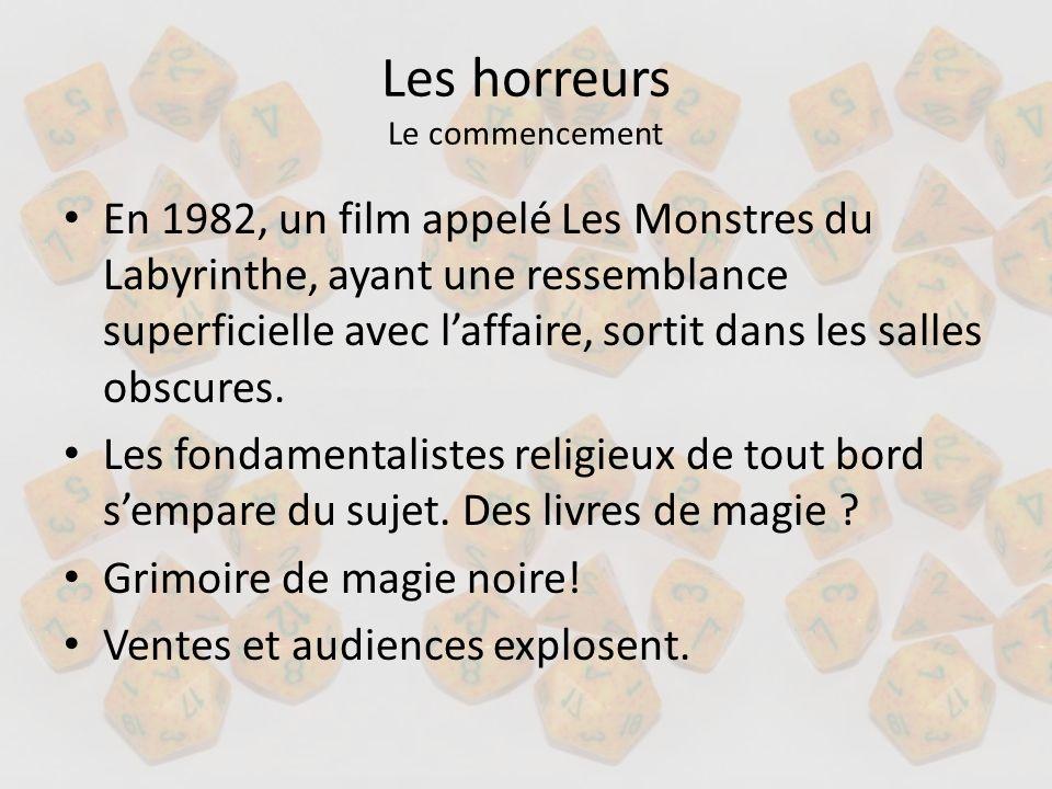Les horreurs Le commencement En 1982, un film appelé Les Monstres du Labyrinthe, ayant une ressemblance superficielle avec laffaire, sortit dans les s