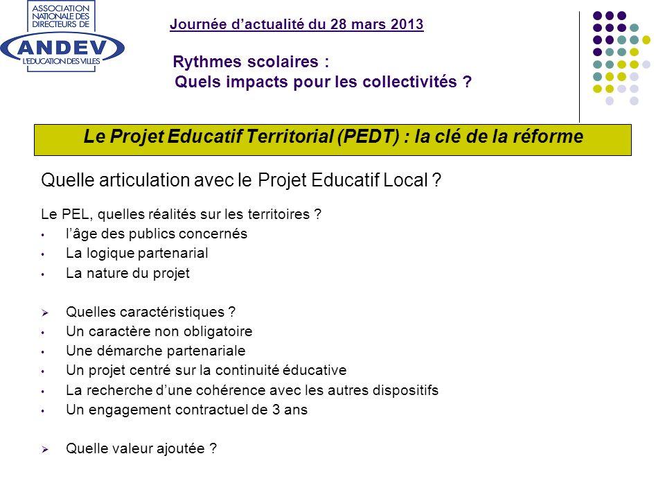 Journée dactualité du 28 mars 2013 Rythmes scolaires : Quels impacts pour les collectivités ? Le Projet Educatif Territorial (PEDT) : la clé de la réf