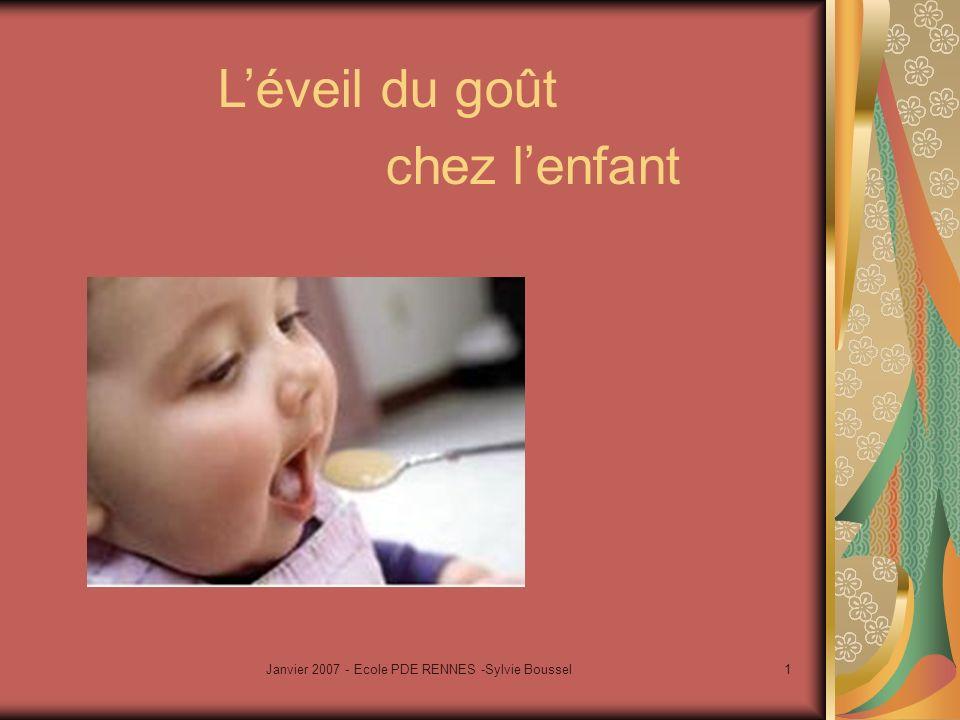 Janvier 2007 - Ecole PDE RENNES -Sylvie Boussel1 Léveil du goût chez lenfant