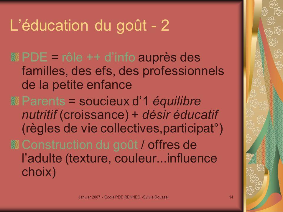 Janvier 2007 - Ecole PDE RENNES -Sylvie Boussel14 Léducation du goût - 2 PDE = rôle ++ dinfo auprès des familles, des efs, des professionnels de la pe