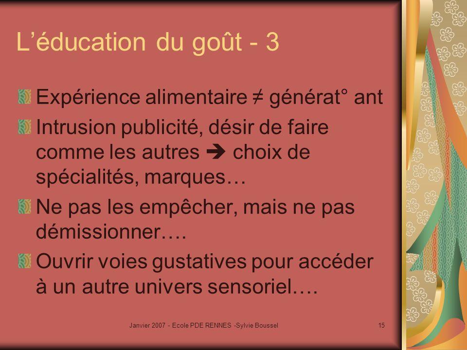 Janvier 2007 - Ecole PDE RENNES -Sylvie Boussel15 Léducation du goût - 3 Expérience alimentaire générat° ant Intrusion publicité, désir de faire comme