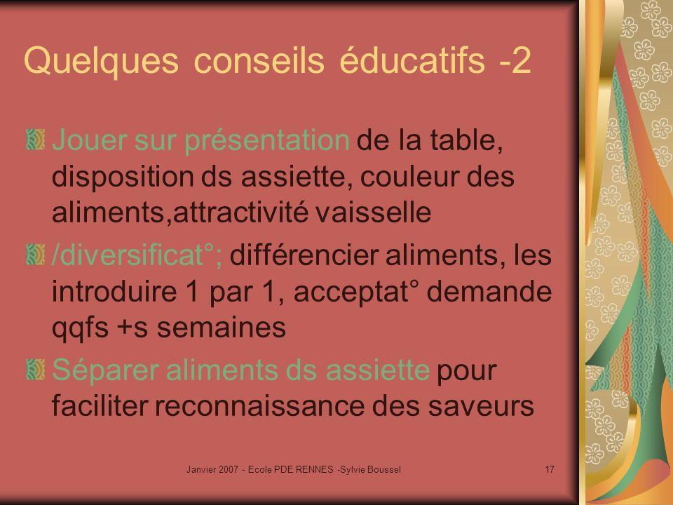 Janvier 2007 - Ecole PDE RENNES -Sylvie Boussel17 Quelques conseils éducatifs -2 Jouer sur présentation de la table, disposition ds assiette, couleur