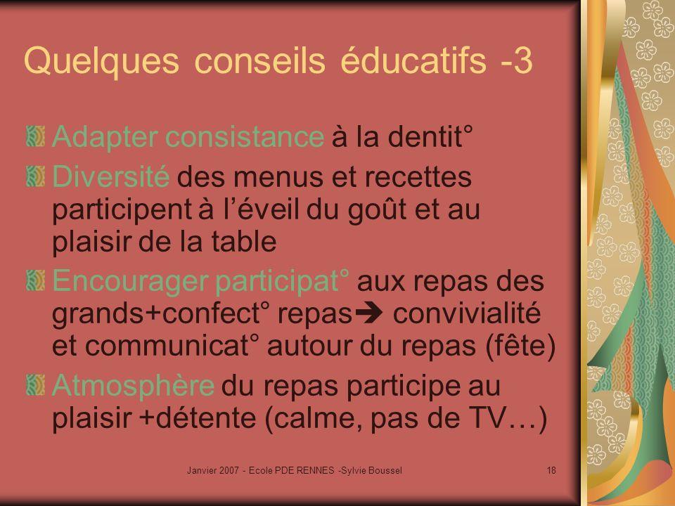 Janvier 2007 - Ecole PDE RENNES -Sylvie Boussel18 Quelques conseils éducatifs -3 Adapter consistance à la dentit° Diversité des menus et recettes part