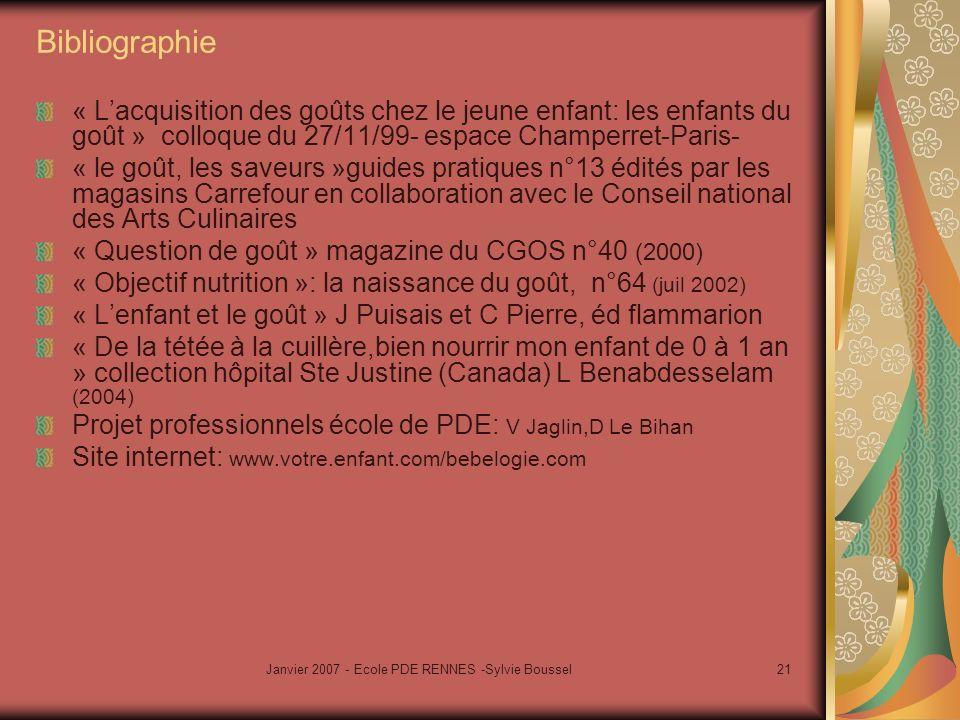 Janvier 2007 - Ecole PDE RENNES -Sylvie Boussel21 Bibliographie « Lacquisition des goûts chez le jeune enfant: les enfants du goût » colloque du 27/11