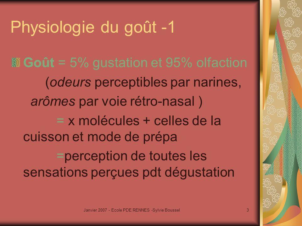 Janvier 2007 - Ecole PDE RENNES -Sylvie Boussel3 Physiologie du goût -1 Goût = 5% gustation et 95% olfaction (odeurs perceptibles par narines, arômes