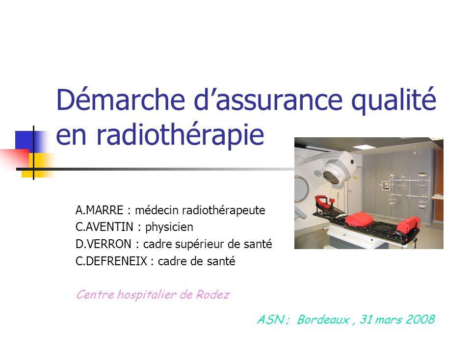 Démarche dassurance qualité en radiothérapie A.MARRE : médecin radiothérapeute C.AVENTIN : physicien D.VERRON : cadre supérieur de santé C.DEFRENEIX : cadre de santé Centre hospitalier de Rodez ASN ; Bordeaux, 31 mars 2008