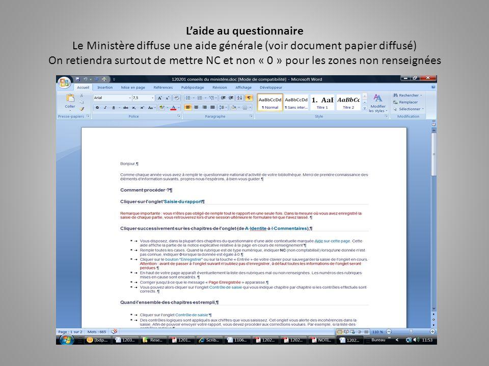 Le questionnaire est accompagné dune aide contextuelle accessible en ligne et diffusée pendant la formation sous forme papier.