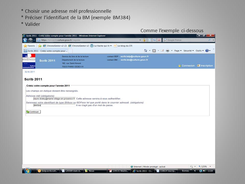 Après validation, le système * confirme et * invite à créer le compte Lécran se présente comme lexemple ci-dessous