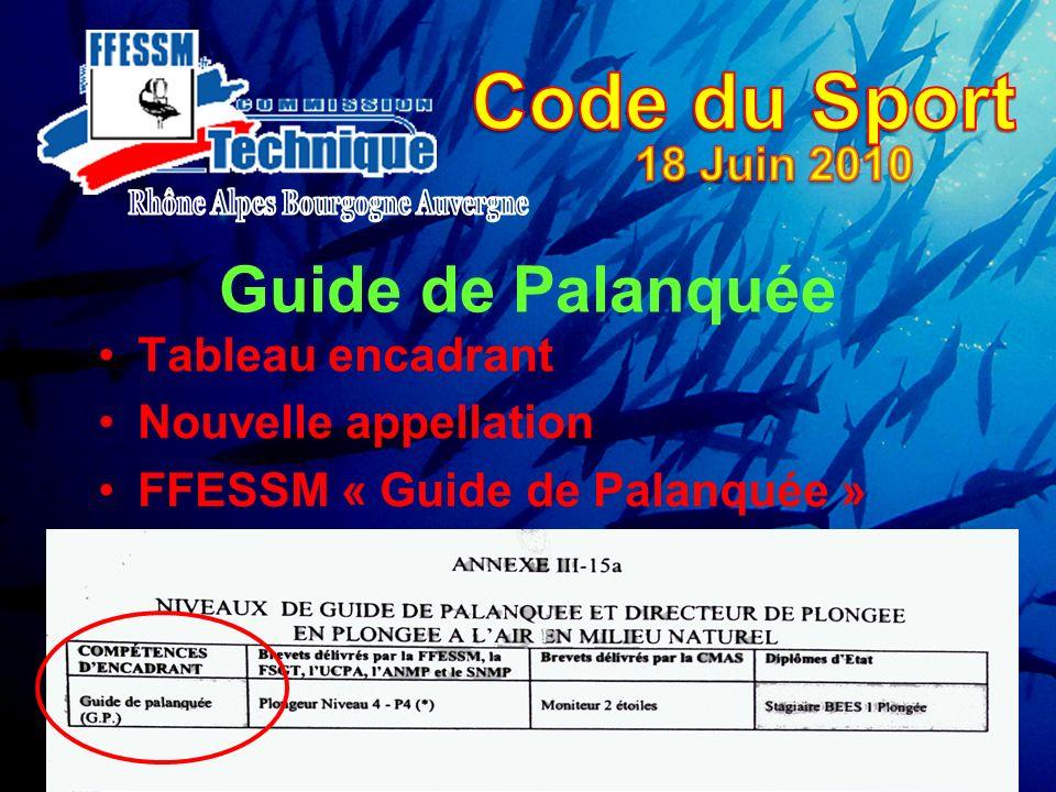 Guide de Palanquée Tableau encadrant Nouvelle appellation FFESSM « Guide de Palanquée »