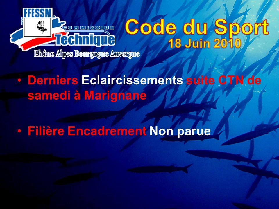 Derniers Eclaircissements suite CTN de samedi à Marignane Filière Encadrement Non parue