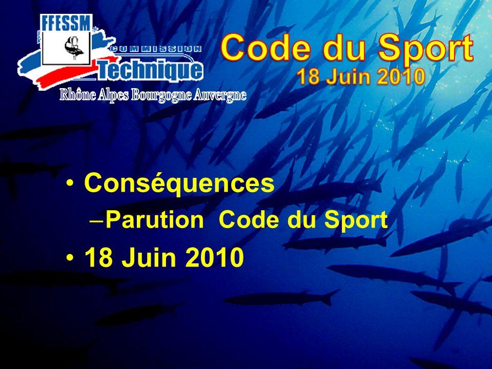 Conséquences –Parution Code du Sport 18 Juin 2010
