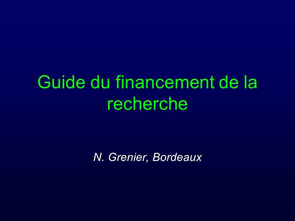 Guide du financement de la recherche N. Grenier, Bordeaux