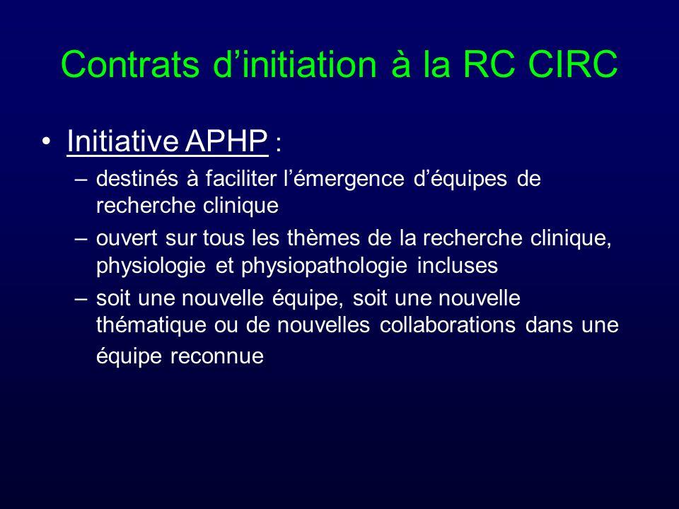 Contrats dinitiation à la RC CIRC Initiative APHP : –destinés à faciliter lémergence déquipes de recherche clinique –ouvert sur tous les thèmes de la