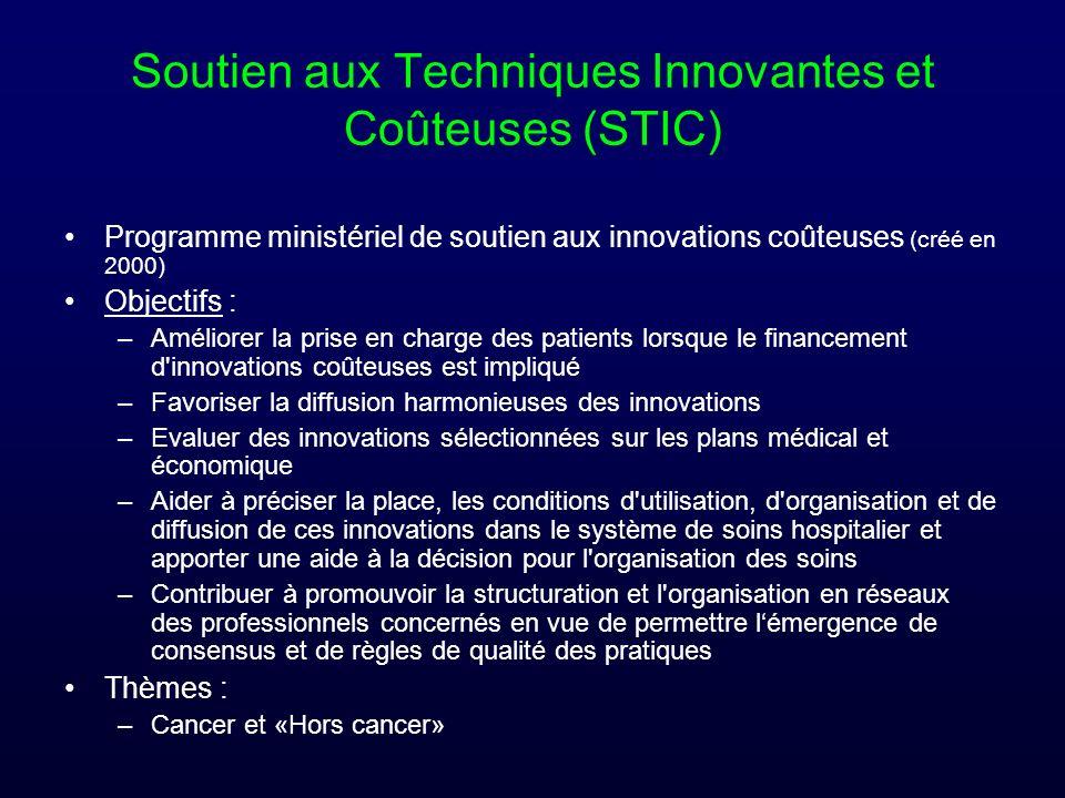Soutien aux Techniques Innovantes et Coûteuses (STIC) Programme ministériel de soutien aux innovations coûteuses (créé en 2000) Objectifs : –Améliorer
