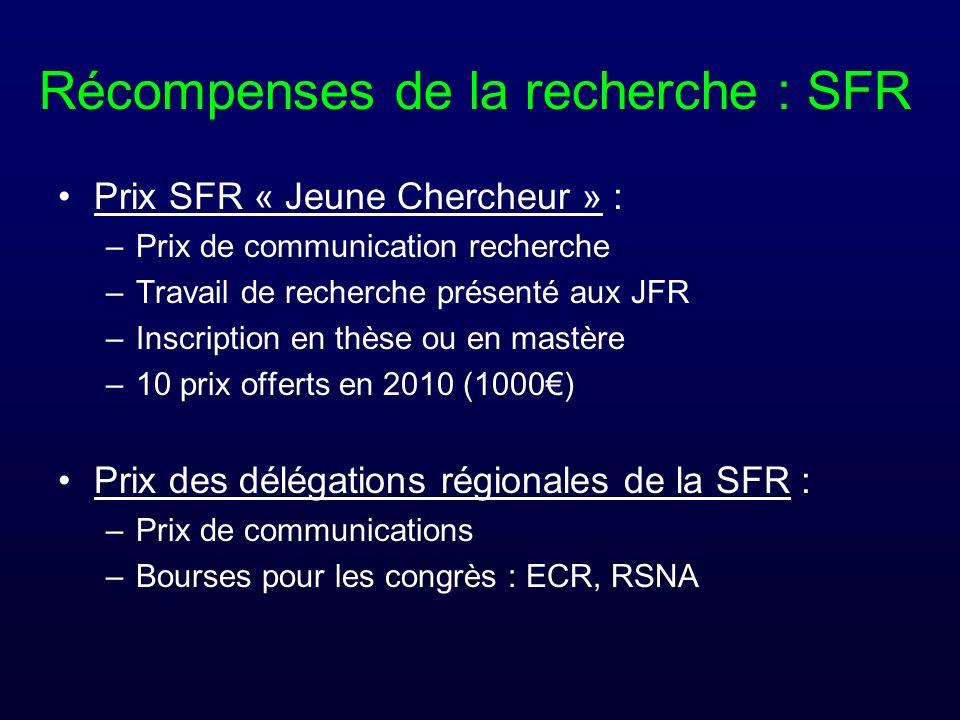 Récompenses de la recherche : SFR Prix SFR « Jeune Chercheur » : –Prix de communication recherche –Travail de recherche présenté aux JFR –Inscription