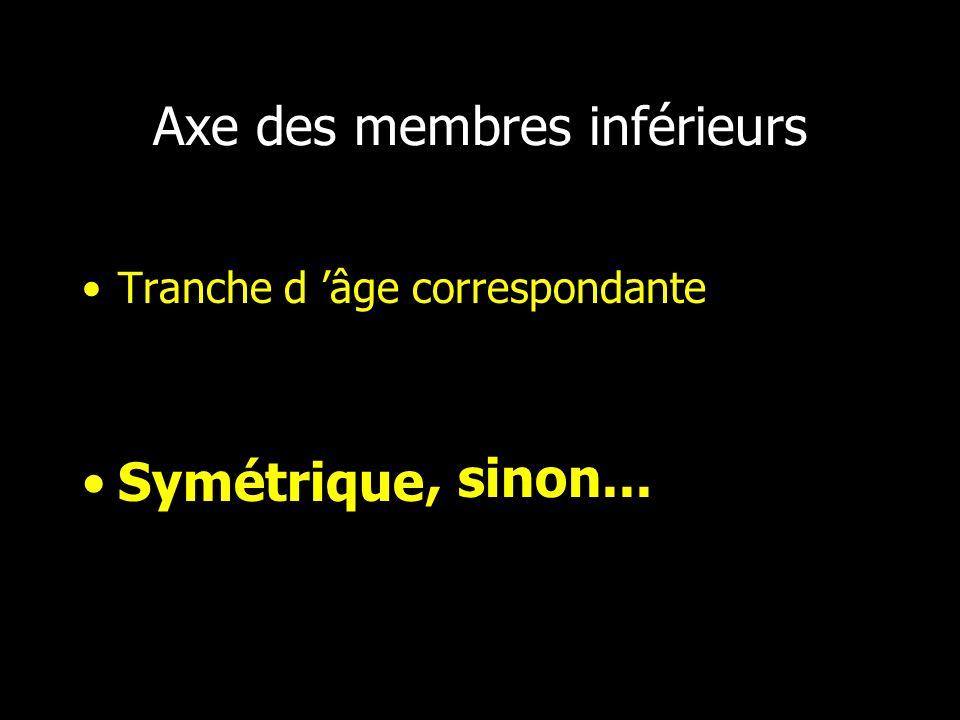 Axe des membres inférieurs Tranche d âge correspondante Symétrique, sinon...