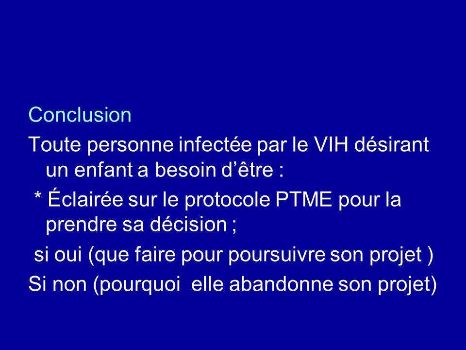 Conclusion Toute personne infectée par le VIH désirant un enfant a besoin dêtre : * Éclairée sur le protocole PTME pour la prendre sa décision ; si oui (que faire pour poursuivre son projet ) Si non (pourquoi elle abandonne son projet)