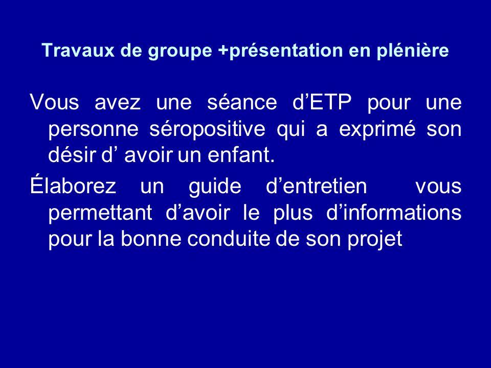 Travaux de groupe +présentation en plénière Vous avez une séance dETP pour une personne séropositive qui a exprimé son désir d avoir un enfant.