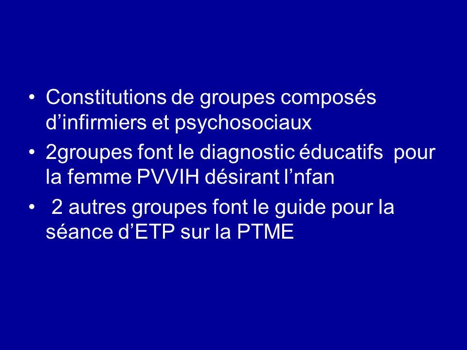 Constitutions de groupes composés dinfirmiers et psychosociaux 2groupes font le diagnostic éducatifs pour la femme PVVIH désirant lnfan 2 autres groupes font le guide pour la séance dETP sur la PTME