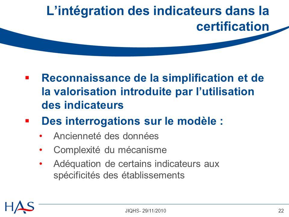 22JIQHS- 29/11/2010 Lintégration des indicateurs dans la certification Reconnaissance de la simplification et de la valorisation introduite par lutili