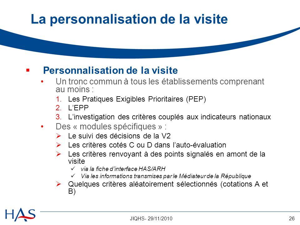 26JIQHS- 29/11/2010 La personnalisation de la visite Personnalisation de la visite Un tronc commun à tous les établissements comprenant au moins : 1.L