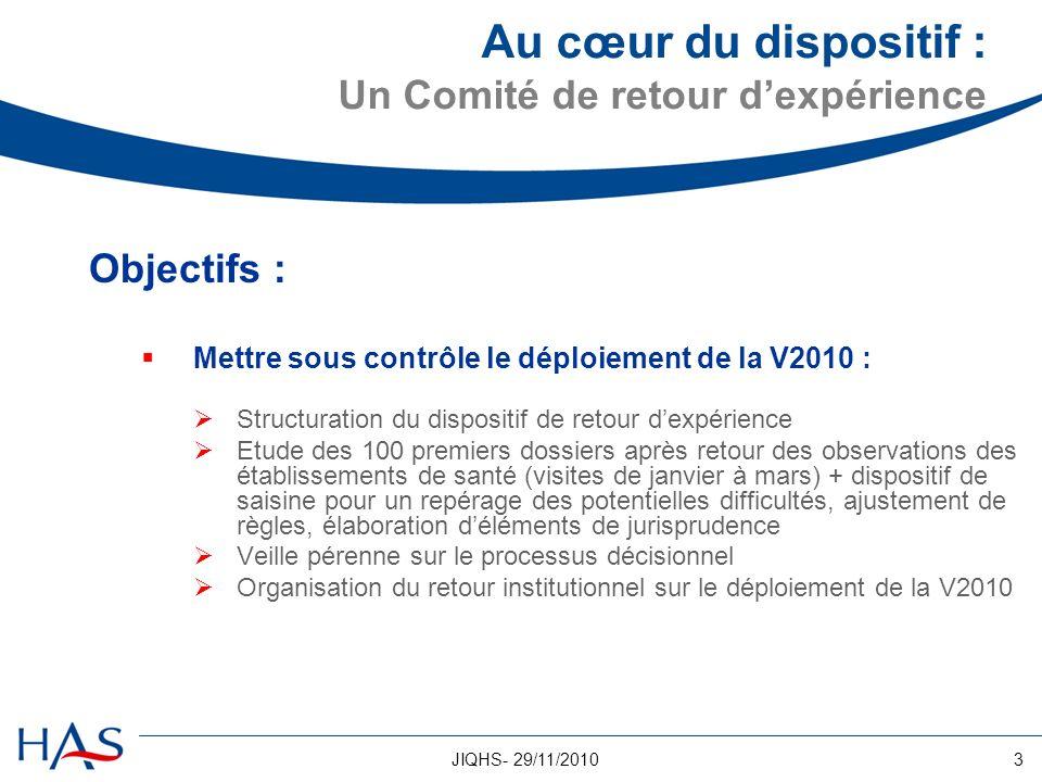 3JIQHS- 29/11/2010 Au cœur du dispositif : Un Comité de retour dexpérience Objectifs : Mettre sous contrôle le déploiement de la V2010 : Structuration