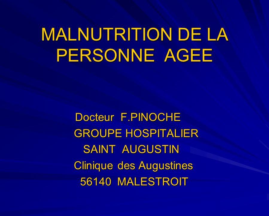 Protéines dites « inflammatoires » CRP : ½ vie brève (12 h) N < 6 mg/l Seuil pathologique > 16 mg/l Syndrome inflammatoire sévère si > 50 mg/l Orosomucoïde : ½ vie intermédiaire (5 jours) 0,5 à 1,2 g/l Cest lassociation des marqueurs de létat nutritionnel, de lalbuminémie, les paramètres mesurant la masse musculaire et la masse grasse, qui va permettre le diagnostic du type et de la sévérité de la malnutrition.