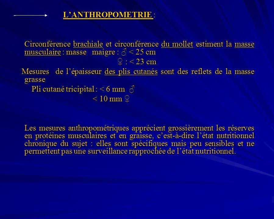 - LANTHROPOMETRIE : Circonférence brachiale et circonférence du mollet estiment la masse musculaire : masse maigre : < 25 cm : < 23 cm : < 23 cm Mesur