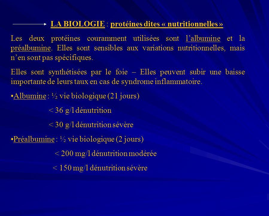 LA BIOLOGIE : protéines dites « nutritionnelles » Les deux protéines couramment utilisées sont lalbumine et la préalbumine. Elles sont sensibles aux v