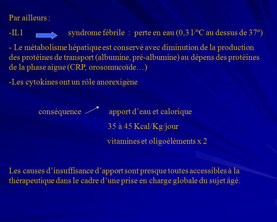 Par ailleurs : -IL1syndrome fébrile : perte en eau (0,3 l/ºC au dessus de 37º) - Le métabolisme hépatique est conservé avec diminution de la productio