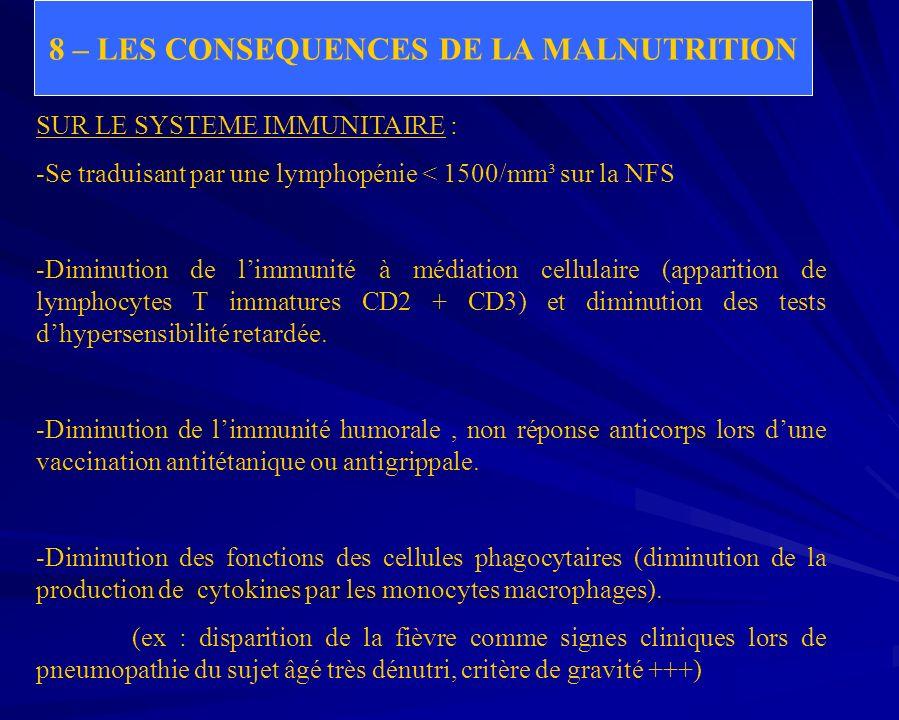 8 – LES CONSEQUENCES DE LA MALNUTRITION SUR LE SYSTEME IMMUNITAIRE : -Se traduisant par une lymphopénie < 1500/mm³ sur la NFS -Diminution de limmunité
