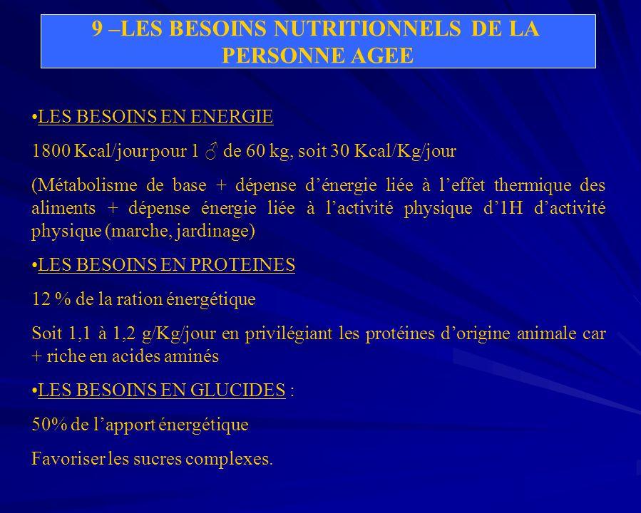 9 –LES BESOINS NUTRITIONNELS DE LA PERSONNE AGEE LES BESOINS EN ENERGIE 1800 Kcal/jour pour 1 de 60 kg, soit 30 Kcal/Kg/jour (Métabolisme de base + dé
