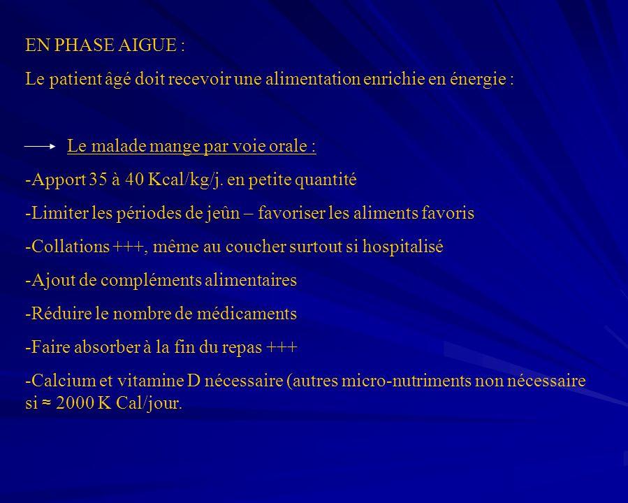 EN PHASE AIGUE : Le patient âgé doit recevoir une alimentation enrichie en énergie : Le malade mange par voie orale : -Apport 35 à 40 Kcal/kg/j. en pe