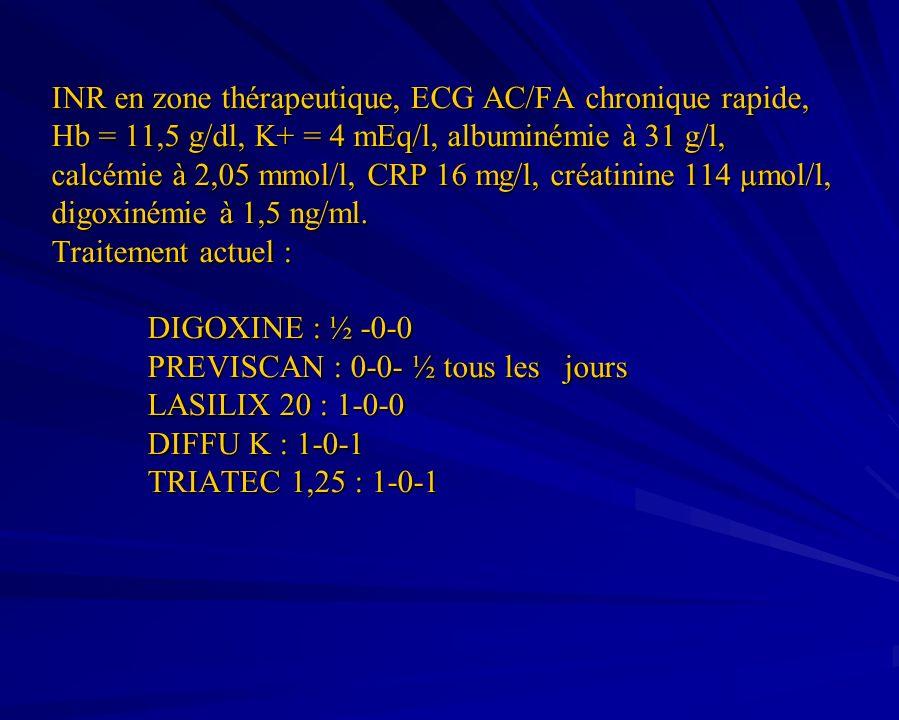 INR en zone thérapeutique, ECG AC/FA chronique rapide, Hb = 11,5 g/dl, K+ = 4 mEq/l, albuminémie à 31 g/l, calcémie à 2,05 mmol/l, CRP 16 mg/l, créati
